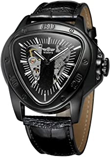 Fashion Sports Triangle Dial Golden Skeleton Mysterious Watch Men Luxury Automatic Mechanical Wrist Watches