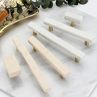 JFOPRH Manijas y perillas de Puerta de mármol de 2 Piezas para Muebles Gabinete de aleación de Zinc Armario de Cocina Arma...