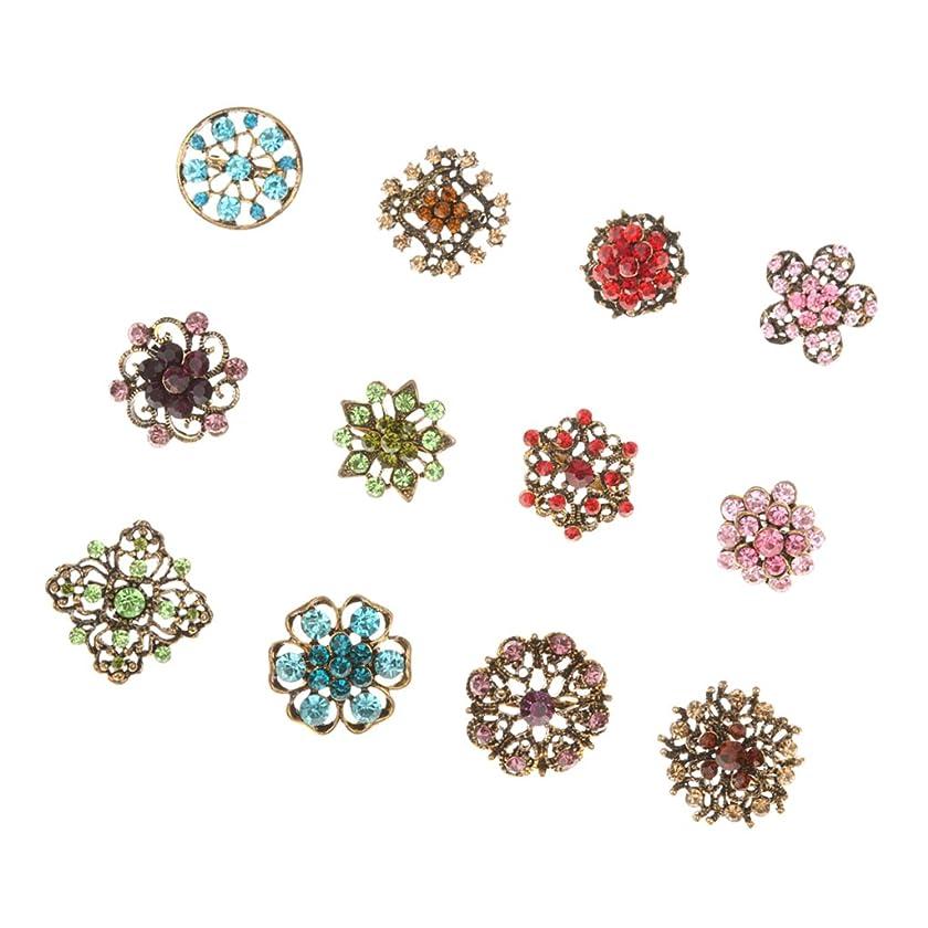 プレゼン目に見えるヘッジKOZEEY合金 女性 ラインストーン 小さなブローチ ジュエリー 花の形 12PCS