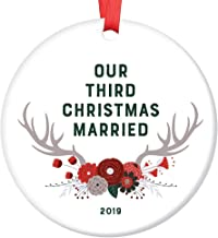 """Third Christmas Married Ornament 2019 3 Years as Mr & Mrs Husband Wife Keepsake Gift Our 3rd Anniversary Present Idea Pretty Woodland Deer Antlers Decoration Ceramic 3"""" Flat Circle Red Ribbon"""