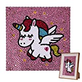 VETPW DIY 5D Diamante Pintura por Números Kit, Bricolaje Diamond Painting Kit Completo Bordado De Punto De Cruz Diamante Arts Craft por Decoración de la Pared del Hogar (15x15CM) - Unicornio