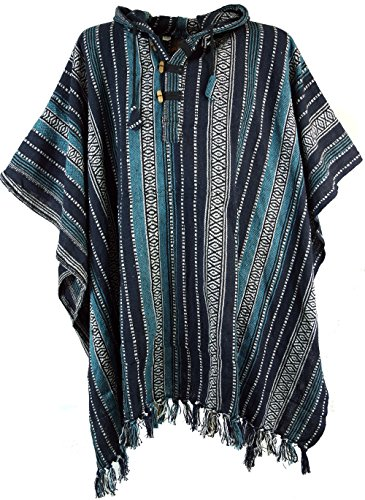 Guru-Shop Poncho Hippie Chic, Ethno Poncho, Andenponcho, Herren/Damen, Blau/schwarz, Baumwolle, Size:One Size, Jacken, Strickjacken, Ponchos Alternative Bekleidung