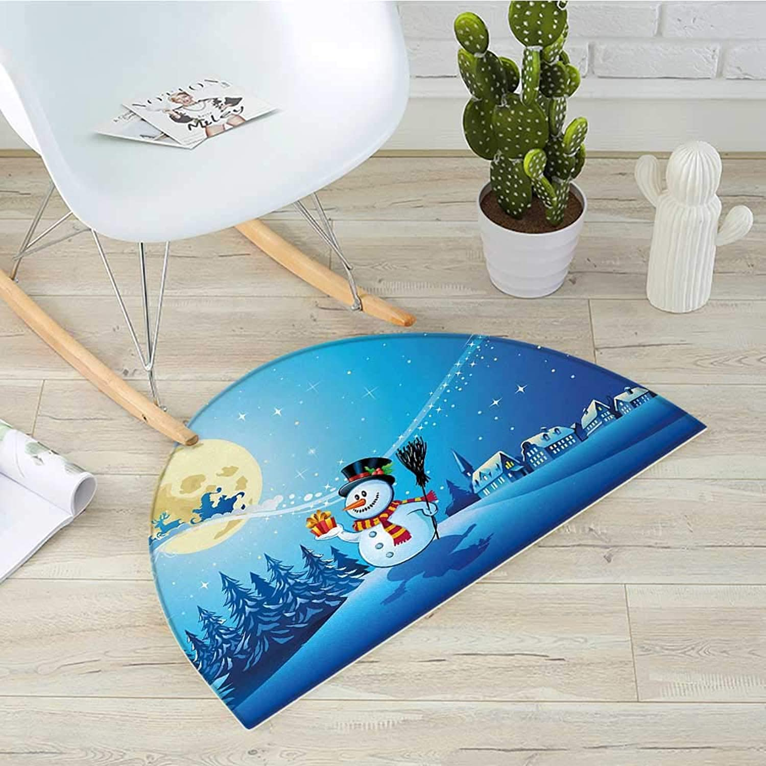 Christmas Semicircle Doormat Snowy Landscape Pines Houses Starry Sky Full Moon and Santa with Present Halfmoon doormats H 31.5  xD 47.2  bluee Eggshell White