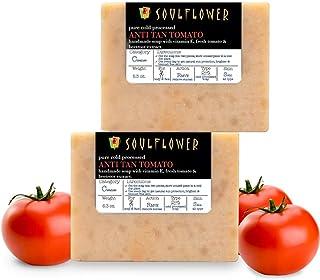 Anti Tan Tomato Handmade Soap by Soulflower, (5.3Oz x 2 bars) Natural, Organic, Vegan & Coldprocessed, Skin Brightening, l...