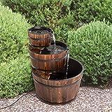 Tohoyard Fuente de cascada de madera rústica de 3 niveles para jardín al...