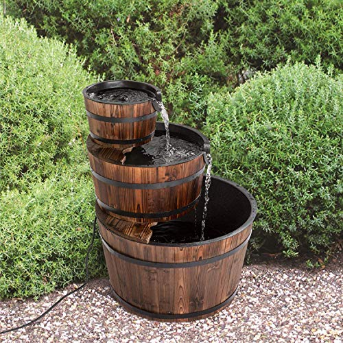 Tohoyard Fuente de cascada de madera rústica de 3 niveles para jardín al aire libre con bomba