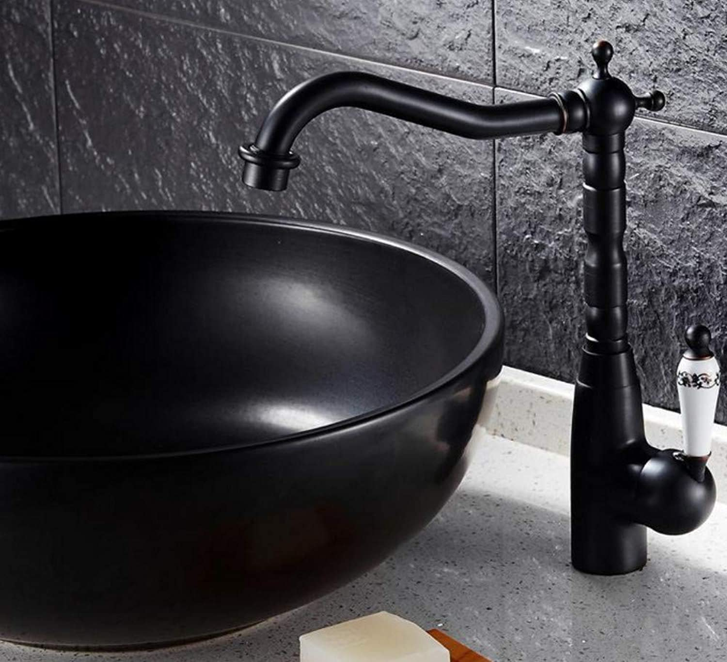 redOOY Black Finish Basin Faucet Bathroom Luxury&Elegant Mixer Taps Swivel Spout with Ceramic Handle water tap for basin