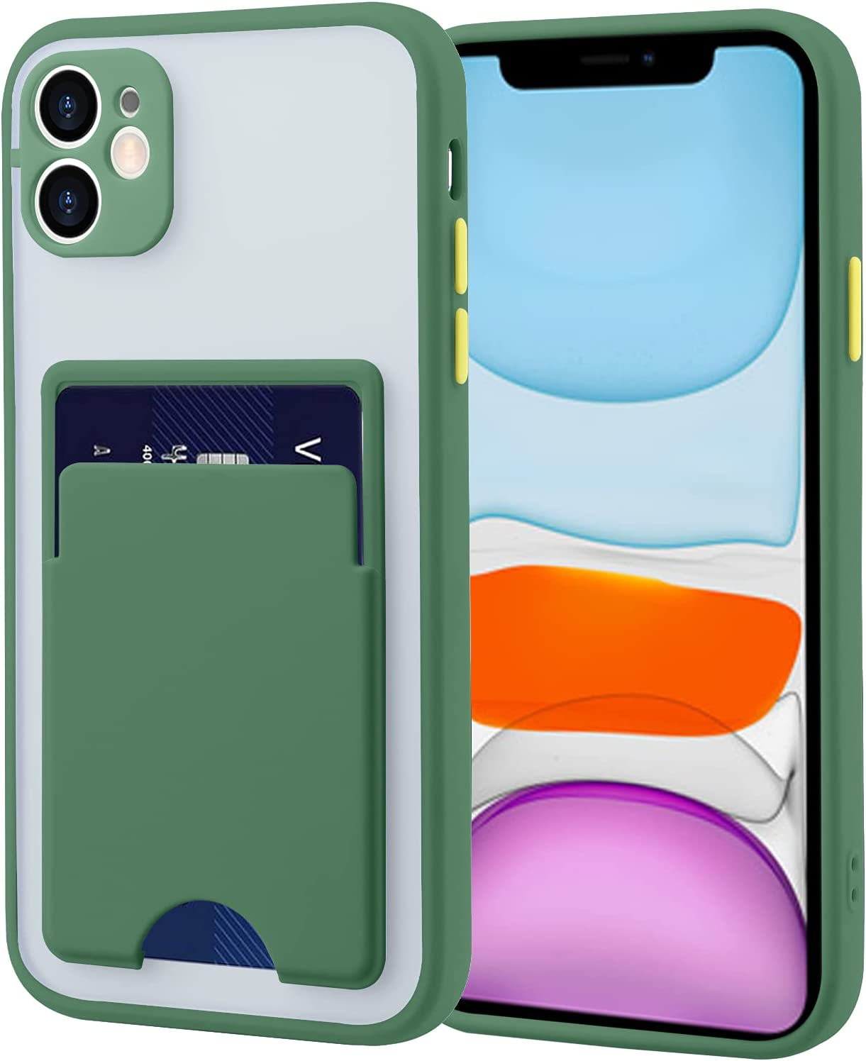 MOWIME Compatible for iPhone 11 Case with Card Holder Translucent Matte Hard PC Back and Soft TPU Bumper Anti Scratch Shockproof Protective Cover Phone Case for iPhone 11 6.1 Inch, Green