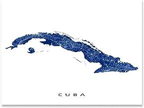 Cuba Map Art Print, Havana, Caribbean Island, Street Artwork Poster
