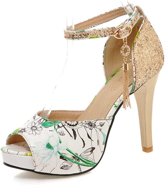 Btrada Women Summer Sandals Flower Print Bling Metal Decoration Platform shoes Ladies Party Sandals