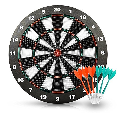 Joview Safety Dart Set with 6 Soft Tip Darts Game Room Board Games 16.5 Inch Stipple Dart Board Play on The Table Leisure Sports Equipment for Kids or Adult