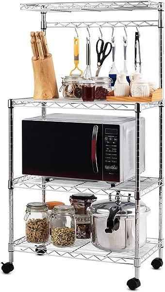 Giantex 4 Tier Baker S Rack Microwave Rack Free Standing Storage Shelf Microwave Oven Stand Kitchen Cart Storage Organizer Shelf Workstation W Adjustable Shelf And 6 Hooks