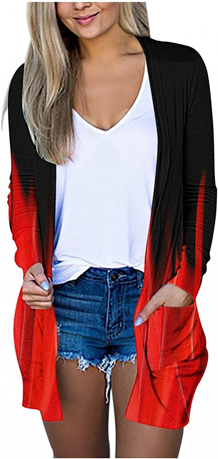 Cardigan Sweaters for Women Casual Long Sleeve Flame Print Lightweight Open Front Cardigan Sweaters Pockets Outerwear Coat