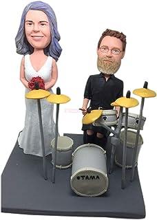 Reproductor de tambor Topper de pastel de bodas personalizado Bobble Head Figurilla de arcilla basada en la foto de los cl...