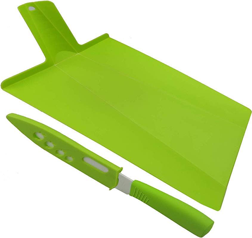 Cockgoo Foldable Camping Plastic Cutting Boards And White Ceramic Knife 5 Inch