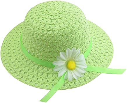 Qinlee Baby Toddler Girl Princess Cute Summer Beach Bucket Hat Straw Cap Bonnet Embroidered