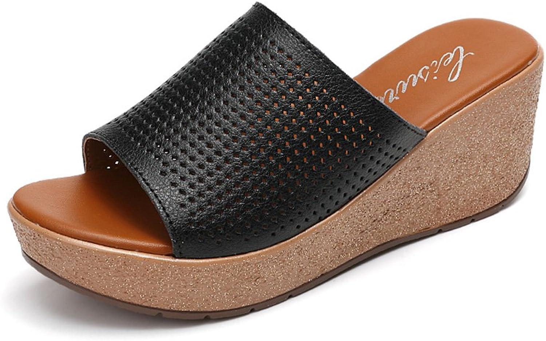 HAIZHEN Frauenschuhe 6.8 cm Weibliche Sommerkühle Pantoffeln Openwork Sandalen Fashion dicke Pantoffeln (schwarz blau wei) Für Frauen (Farbe   Schwarz, gre   EU38 UK5.5 CN38)