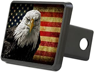 CafePress - Bald Eagle and Flag - Trailer Hitch Cover, Truck Receiver Hitch Plug Insert