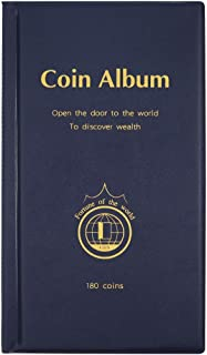 AITIME 180 Pockets Coin Collection Supplies - Coin Collecting Holders Book Album for Collectors, Collector Album Storage Suitable for Coin Diameter Less Than 1.66 Inches (Blue)