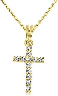 14K Yellow Gold Diamond Cross Pendant with 18