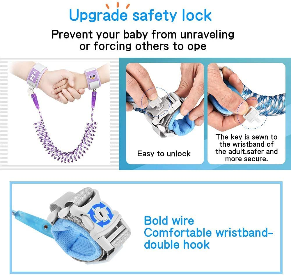 Anti Lost Wrist Link Safety Wrist Link for Toddlers, Reflective Child Walking Harness Rope Leash for Babies & Kids (Purple)