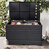 Patio furniture Black Deck Bin Storage Box Waterproof Liner Deck Box 150 Gallon Large Size Pool Toys and Garden Tools Waterproof Liner