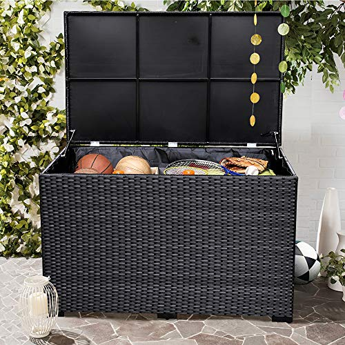Leaptime Storage Box for Patio Sofa Cushions Home Toys Garden Tools Black Rattan with Water Proof Inner Bag Blanket chests