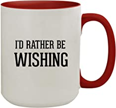 I'd Rather Be WISHING - 15oz Colored Inner & Handle Ceramic Coffee Mug, Red