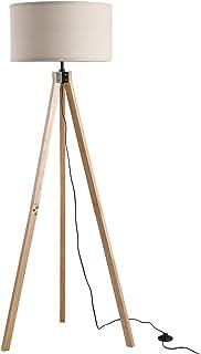 HOMCOM Lampadaire trépied Style scandinave 40 W Max. dim. 45L x 45l x 152H cm Bois de pin Lin Beige