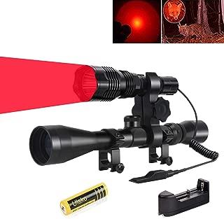 Ulako 250 Yards Range Red Light Tactical Flashlight with Scope Sight Mount for Coyote Hog Pig Varmint Predator Hunting