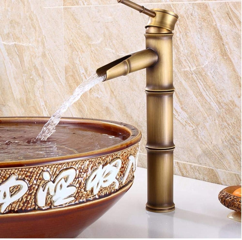 Syhua Europische antike Waschbecken Wasserhahn Retro, Bambus-Stil Einlochmontage Becken Wasserhahn Vintage, Messing Wasserhahn hei und kalt