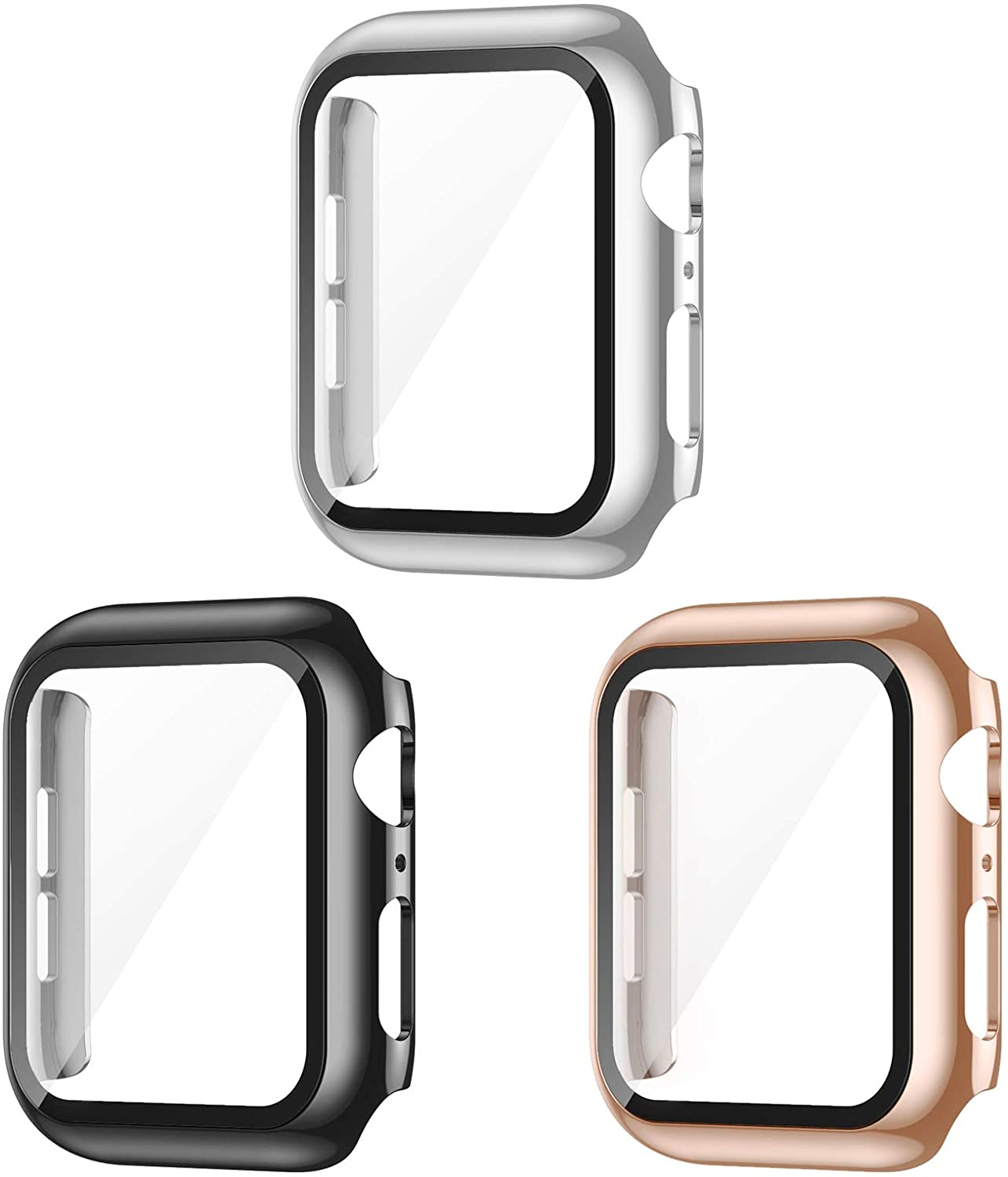 AVIDDA 3 Pack Case with Tempered Glass Screen Protector for Apple Watch 42mm Series 3/2/1, Slim Guard Bumper Full Coverage HD Ultra-Thin Cover Compatible with iWatch 42mm