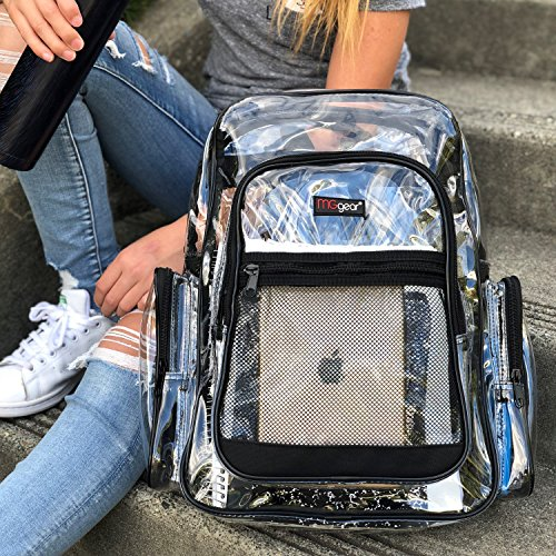 MGgear Clear Transparent PVC School Backpack/Outdoor Backpack with Black Trim
