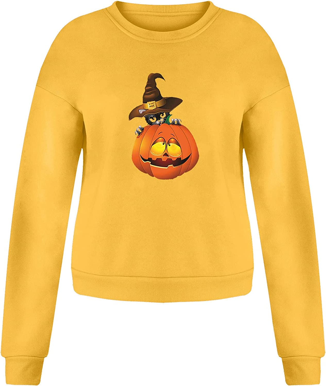 Halloween Sweatshirts for Women Pumpkin Printed Shirts Long Sleeve Crewneck T-Shirts Warm Winter Tops