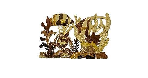 Coral Reef 1607 Coastal Wood Factory Handmade Art Intarsia Wooden Wall Plaque model
