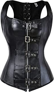 Blidece Women's Punk Rock Faux Leather Steampunk Corset Set Retro Goth Overbust Steel Bustier with Skirt