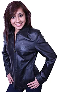Dona Michi Women's Basic Jacket Genuine Leather, Zipper Closure Black