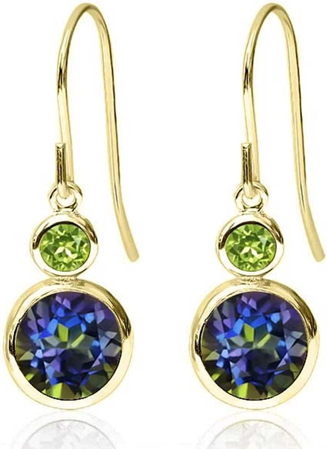 1.84 Ct Round bluee Mystic Topaz Green Peridot 14K Yellow gold Earrings