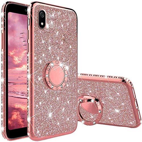 TVVT Glitter Crystal Funda para Xiaomi Redmi 7A, Glitter Rhinestone Bling Carcasa Soporte Magnético de 360 Grados Ultrafino Suave Silicona Lujo Brillante Rhinestone - Rosa