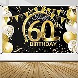 60 Anni Compleanno Festa Decorazioni Oro Nero, 60 Striscione di Compleanno, 60 Anni di Buon Compleanno Decorazione di Festa per Uomo Donna, Poster di Tessuto Sfondo Fotografico 60 Feste di Compleanno