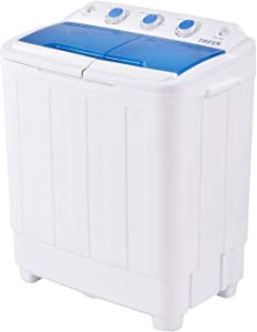 Houssem Washer Machine 16.7lbs Portable 2 in 1 Twin Tub Mini Gravity Compact Laundry Washer and Spin Dryer Combo Washing Machine with Drain Hose for Home RV Camping Dorms College Washer Machine