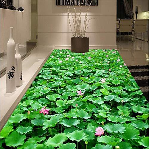Wuyii Lotus bloem zelfklevende vloer muur voor keuken badkamer wandschilderijen 3D Pvc vloerbedekking rol behang 3 D behang papier sticker 400 x 280 cm.