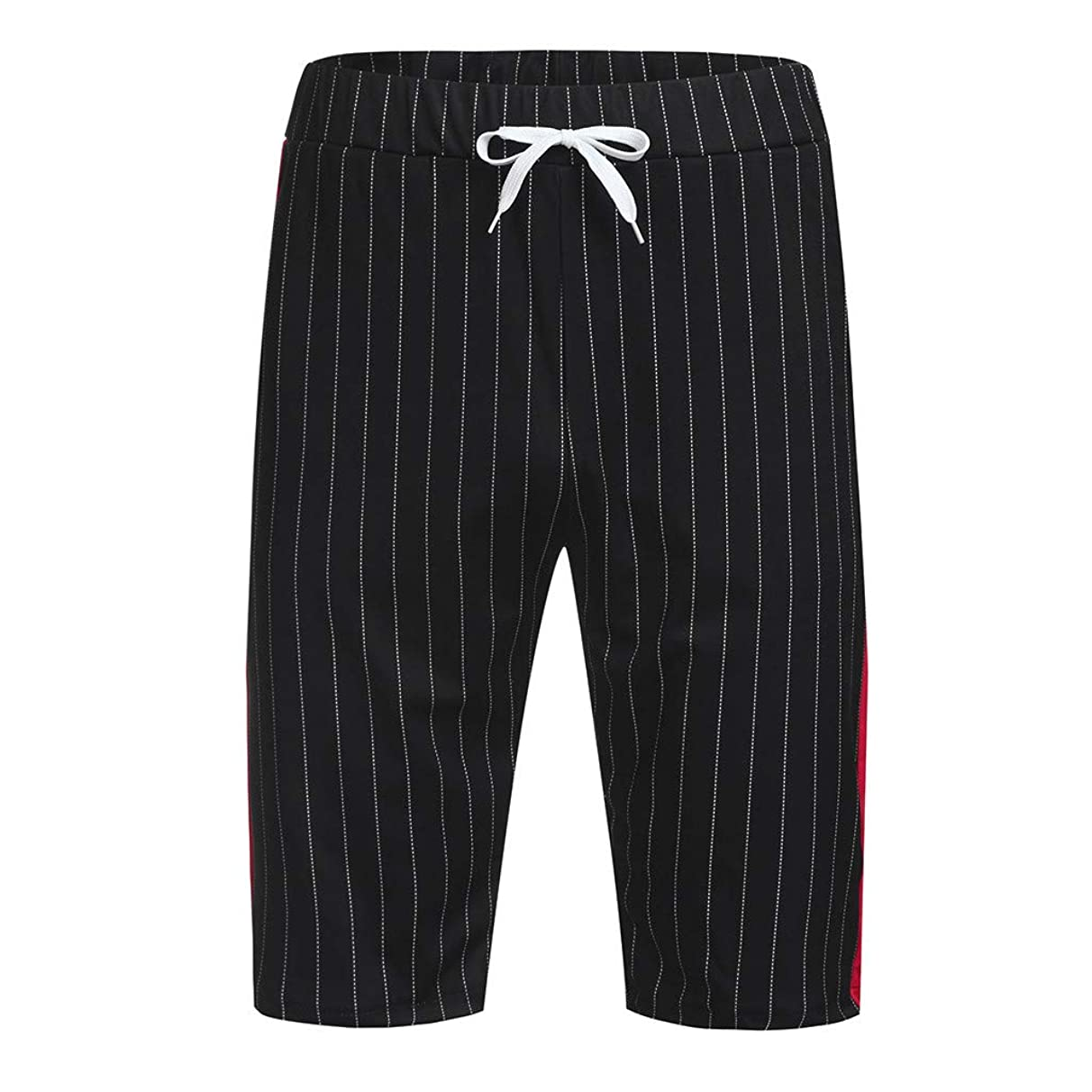 YAYUMI Mens Sports Casual Joggers Striped Patchwork Pocket Drawstring Short Pants Trouser