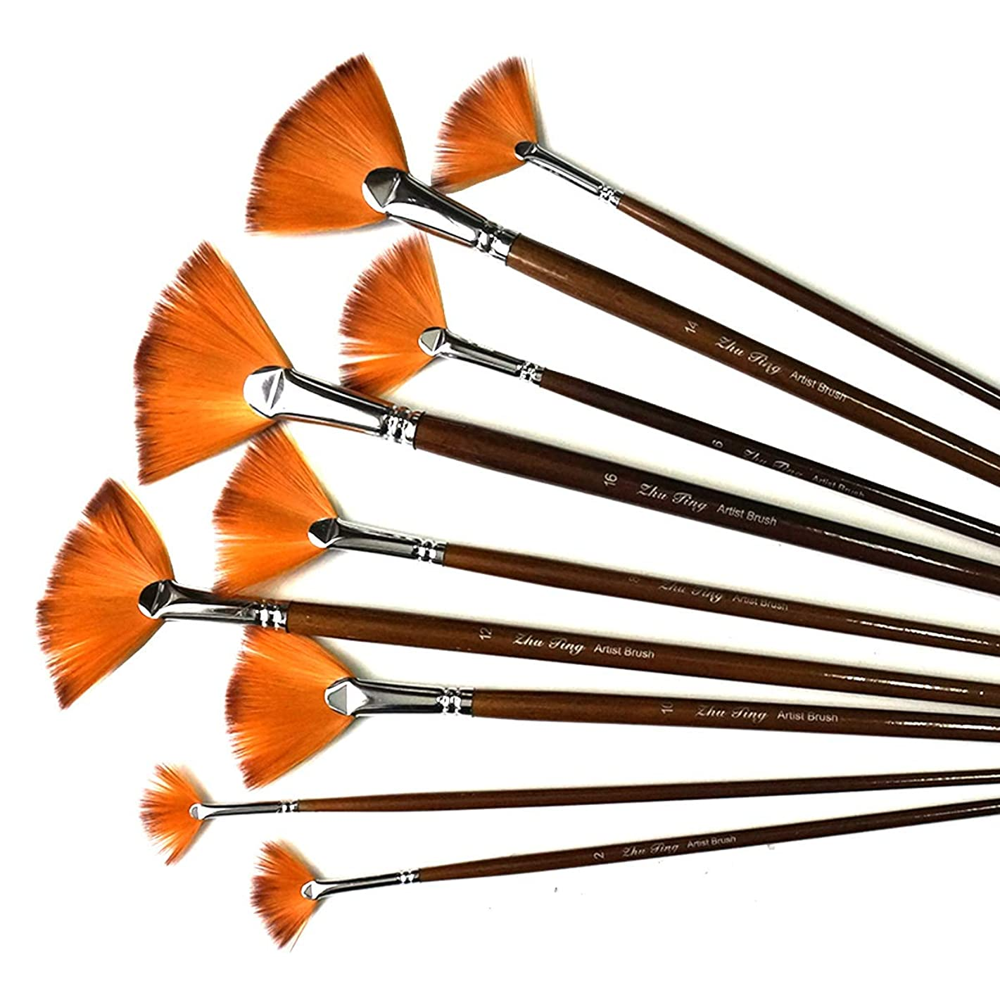 Misscrafts 9pcs Painting Brush Set Fan Artist Brushes with Nylon Hair Wood Long Handle for Acrylic Watercolor Oil Painting