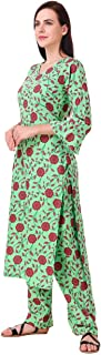MEVE WOMEN'S 100% COTTON 2 PIECE KURTA PALAZZO SET IN GREEN