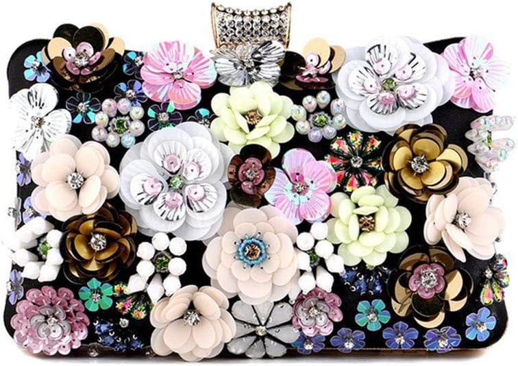 Women's Evening Bag - Colorful Flower Evening Bag Sequins Satin Evening Clutch