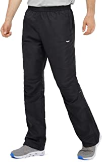 Men's Sports Pants Warm Up Pants with Zipper Pockets for Workout, Gym, Running, Training, Black