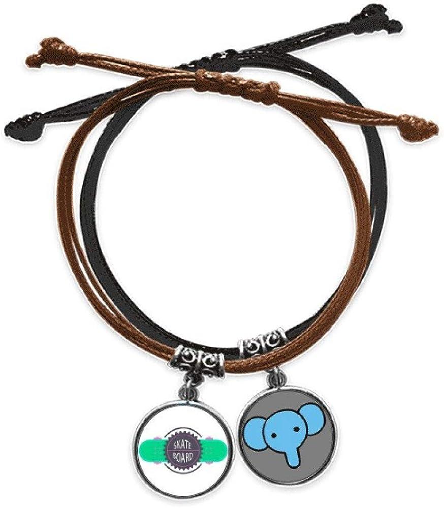 Beauty Gift Monopatín deportivo con lemas dibujos animados acuarela pulsera cuerda mano cadena cuero elefante pulsera