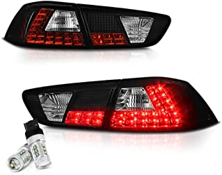 VIPMOTOZ Black Bezel Premium LED Tail Light Housing Lamp Assembly Replacement For 2008-2017 Mitsubishi Lancer & EVO X Sedan - CREE LED Reverse Bulbs, Driver and Passenger Side