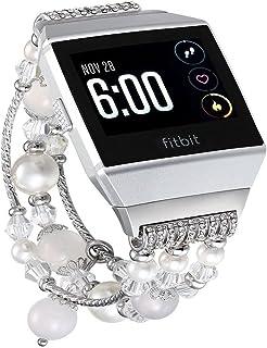 KuToo Fitbit Ionic交換用バンド 伸縮性 ストレッチ 人工パール リストバンド 交換用 レディース ガールズ ストラップ ブレスレット